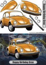Gelukkige Verjaardag Gran Volkswagen Beetle Classic Car Orange