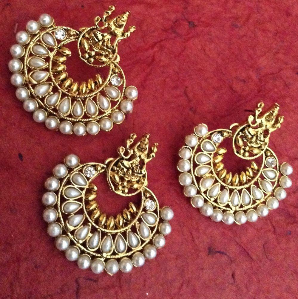 Pearl ethnic ramleela south india temple goddess pendant set cz