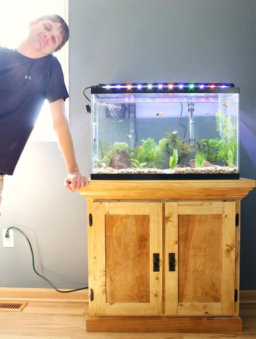 How To Build An Aquarium Cabinet Stand Free Building Plans In 2020 Aquarium Cabinet Diy Fish Tank Diy Aquarium Stand