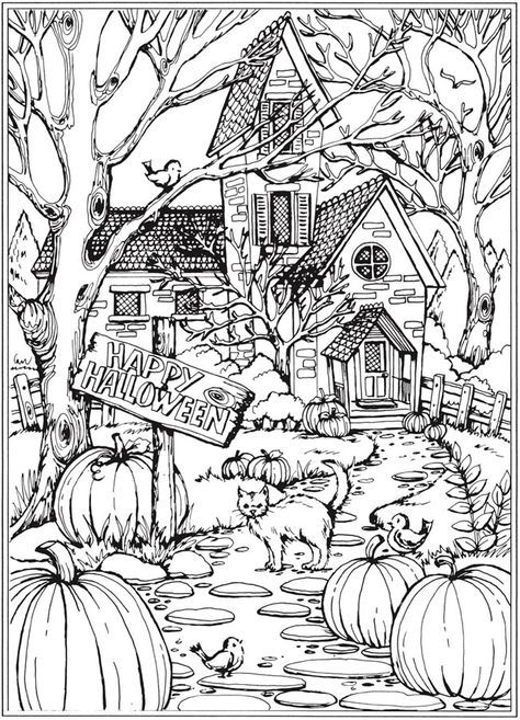 From Creative Haven Autumn Scenes Coloring Book Dover Publications Halloween Coloring Sheets Fall Coloring Pages Halloween Coloring