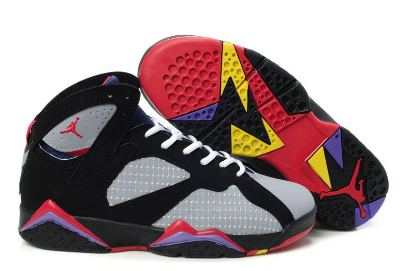 new products d947c d2730 Womens Air Jordan 7 VII Embroidery Black Grey Bordeaux
