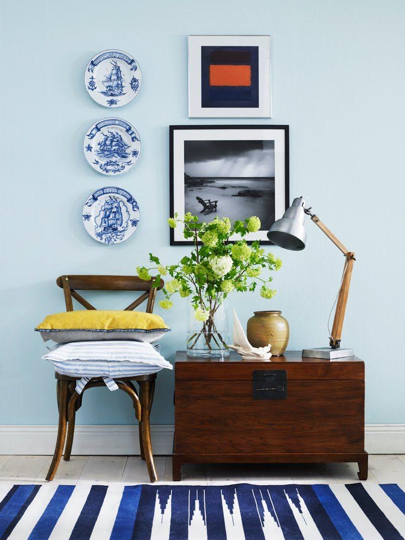Verandah House Interiors-love the rug, chest and wall arrangement ...