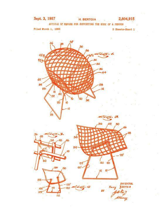 Patent application rendering harry bertoia wire chair for Stuhl designgeschichte