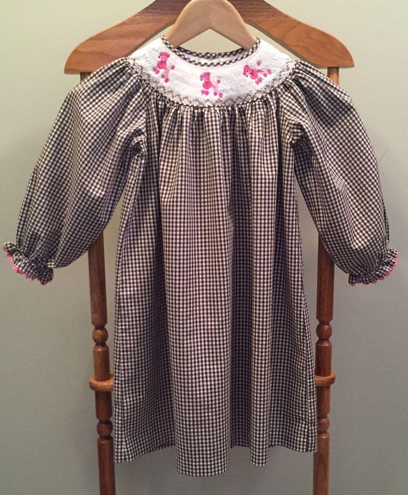 Marmellata Classics Sz 4T Bishop Style Smocked Dress Brown Gingham #Marmellata