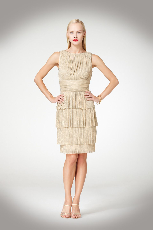 Maggy London Tiered Metallic Dress  ArtDeco us Gatsby