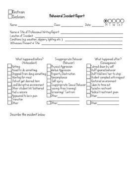 Behavioral Incident Report Form Printable  Editable  Student