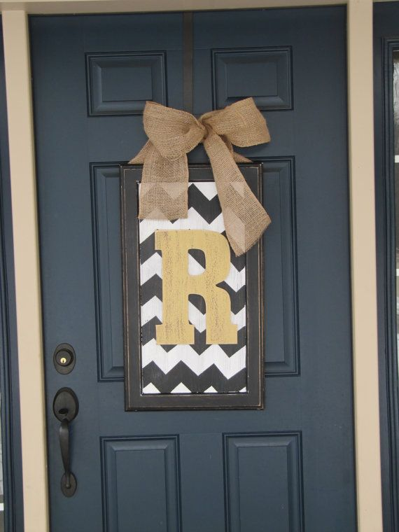 Spring door decor large chevron wood letter for front door & Spring door decor large chevron wood letter for front door | Spring ...