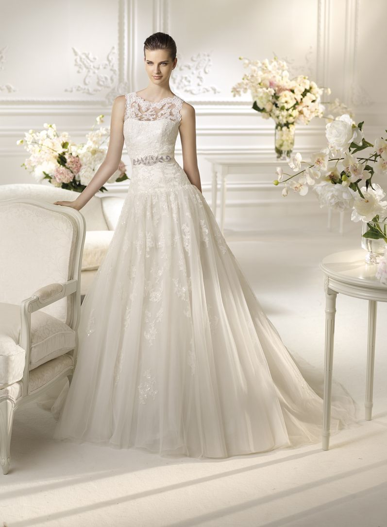 Dramatic wedding dresses  Nimbar  lace overlay drop waist with center sash full skirt