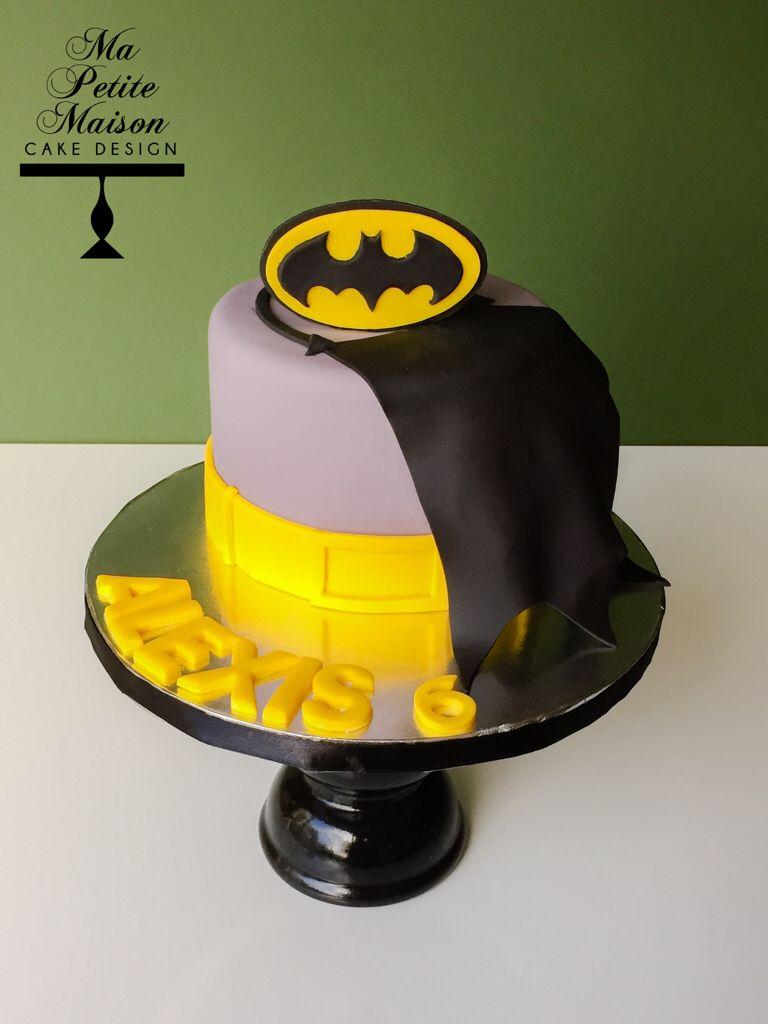 Grey Gray Batman Birthday Cake With Yellow And Black Logo Yellow