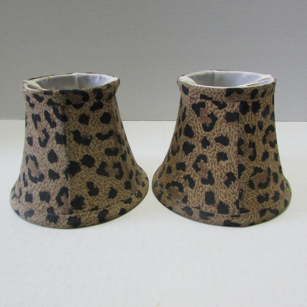 2 fabric clip on chandelier lampshades cheetah leopard mini lamp shown here is this pair of lovely leopard print fabric chandelier shades they are either arubaitofo Choice Image