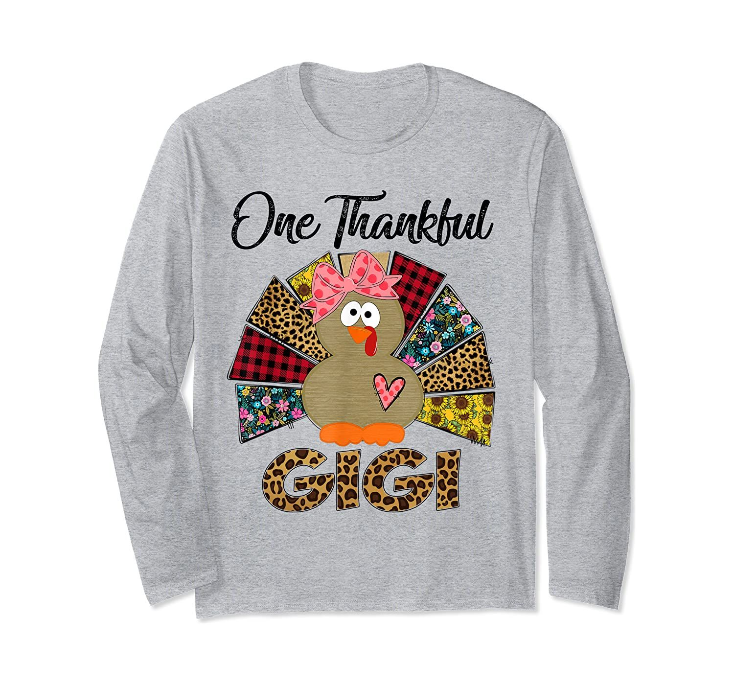 One Thankful Gigi Turkey Leopard Thanksgiving gifts Long Sleeve T-Shirt