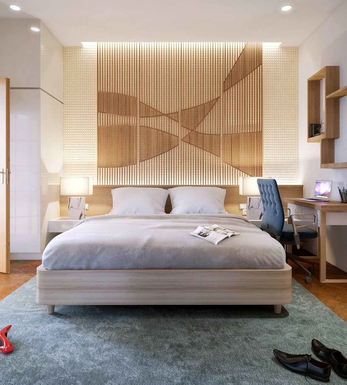25 Beautiful Examples Of Bedroom Accent Walls That Use Slats To Look Awesome Kids Bedroom Remodel Accent Wall Bedroom Remodel Bedroom