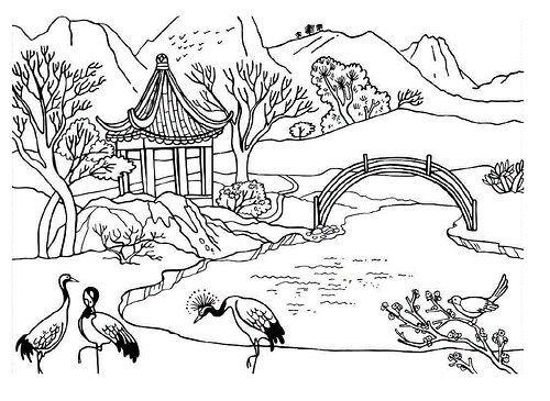Resultado de imagen para paisajes japoneses dibujos | Dibujando y ...