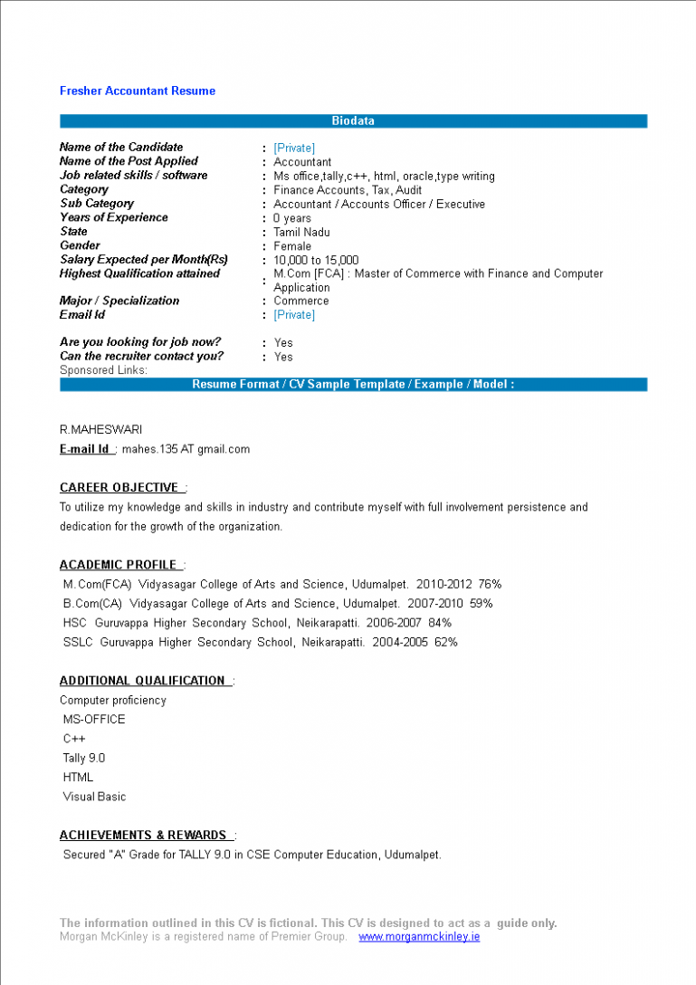 resume format for bsc chemistry freshers