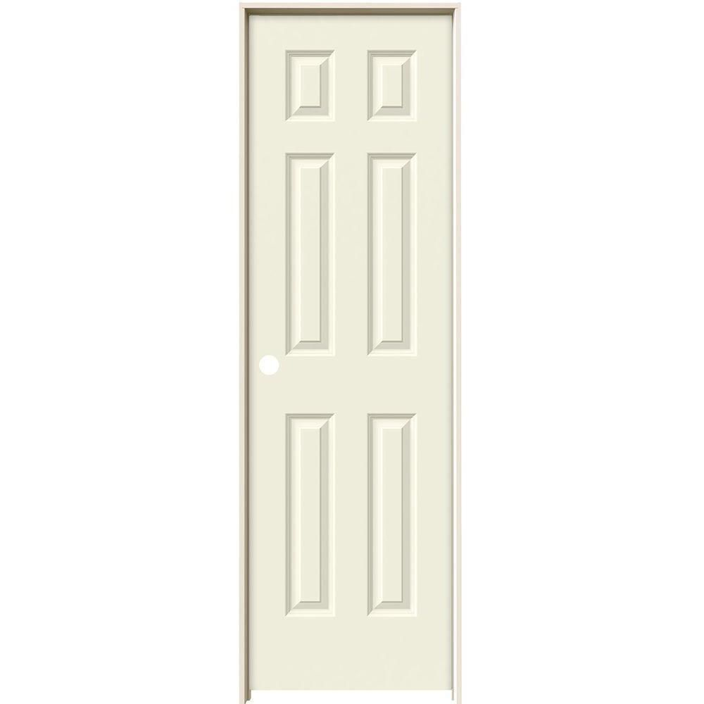 Jeld Wen 24 In X 80 In Colonist Vanilla Painted Right Hand Smooth Solid Core Molded Composite Mdf Single Prehung Interior Door White Prehung Interior Doors Prehung Doors Interior
