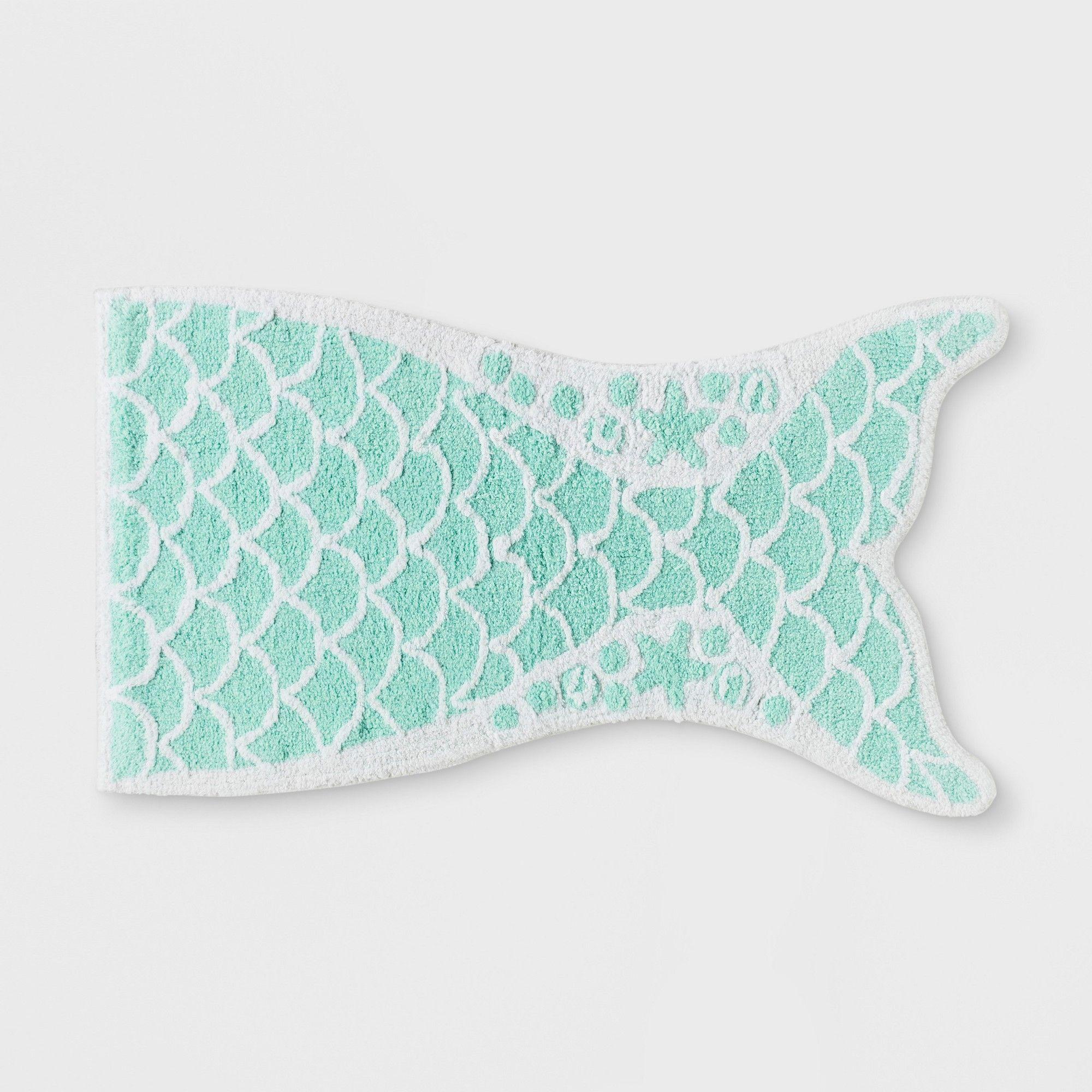 Mermaid Tail Bath Rug Crystalized Green Pillowfort