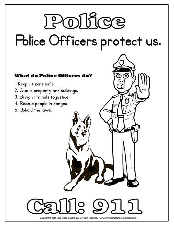 Kindergarten Police Officer Printables (With images
