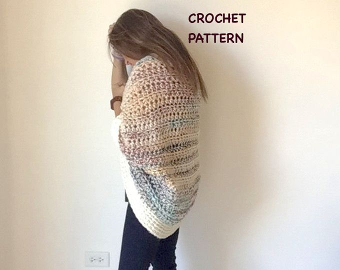 Crochet Shrug PATTERN / Oversized Cardigan Sweater / Chunky Knitwear ...