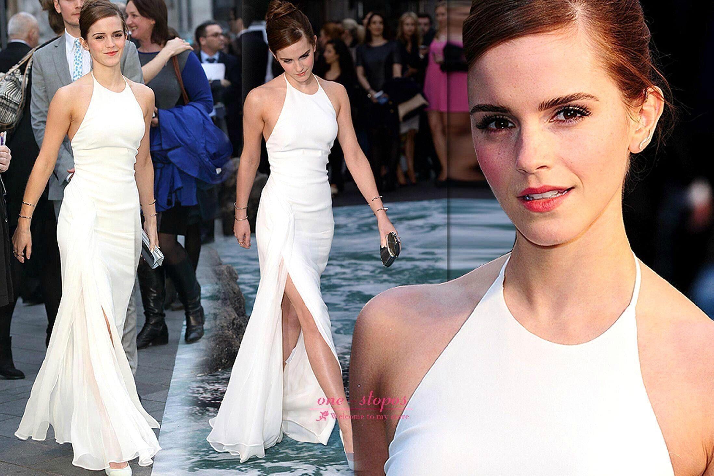 White dress emma watson - Emma Watson Beautiful White Dress