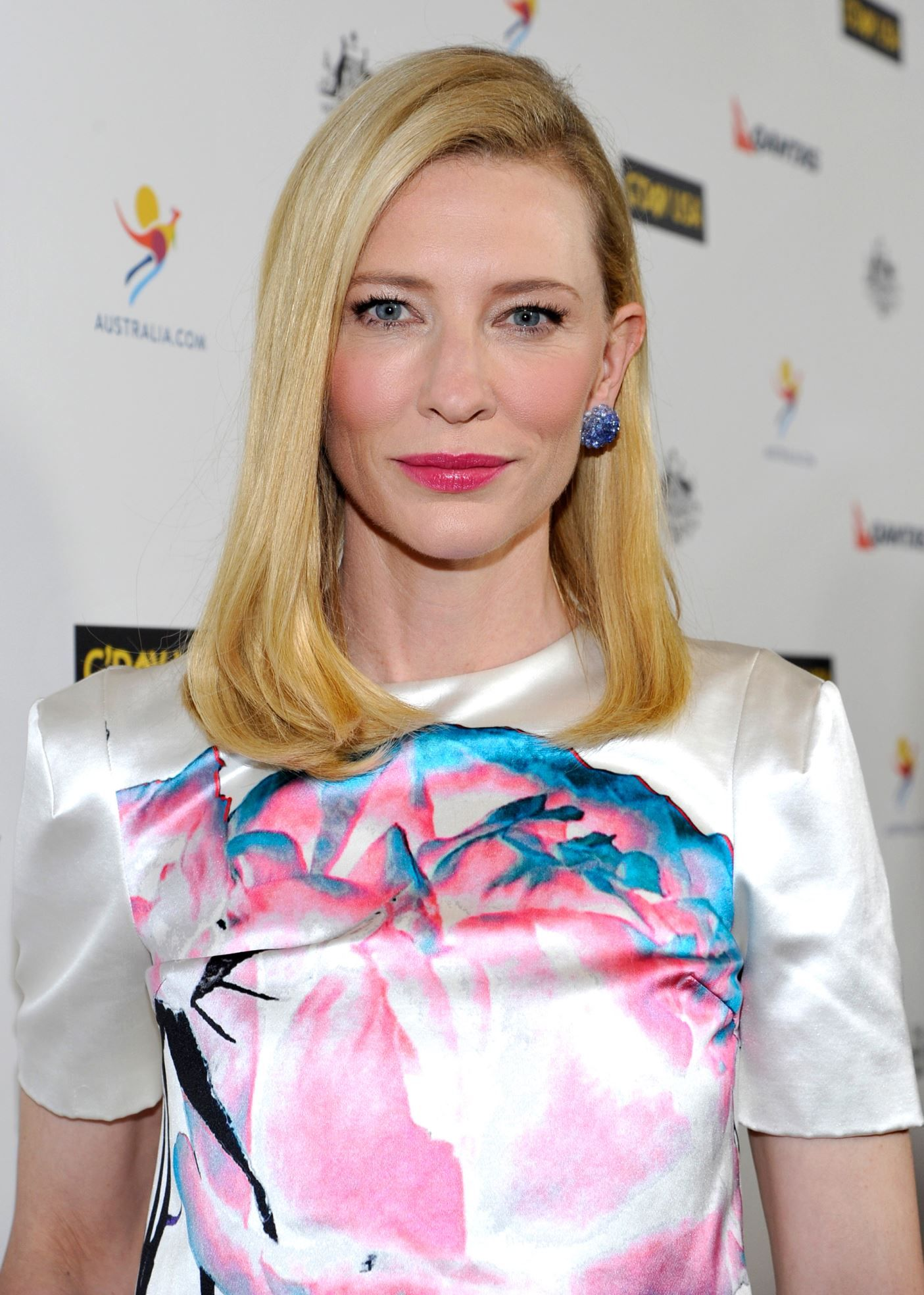 """27 Great Medium-Length Hairstyles-Cate Blanchett  """"To create a slight inward flip, use a round brush at the ends, rolling hair just enough to bend under, heating it with the blow-dryer, and holding until cool,"""" says Bretz. """"Or just shape the ends with a flat iron."""""""