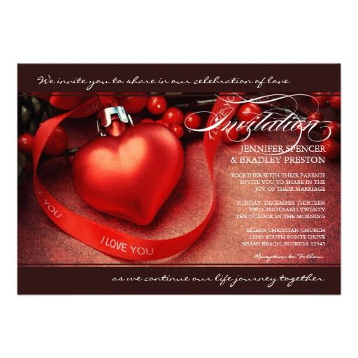 Christmas Wedding Invitation Red Heart Ornament