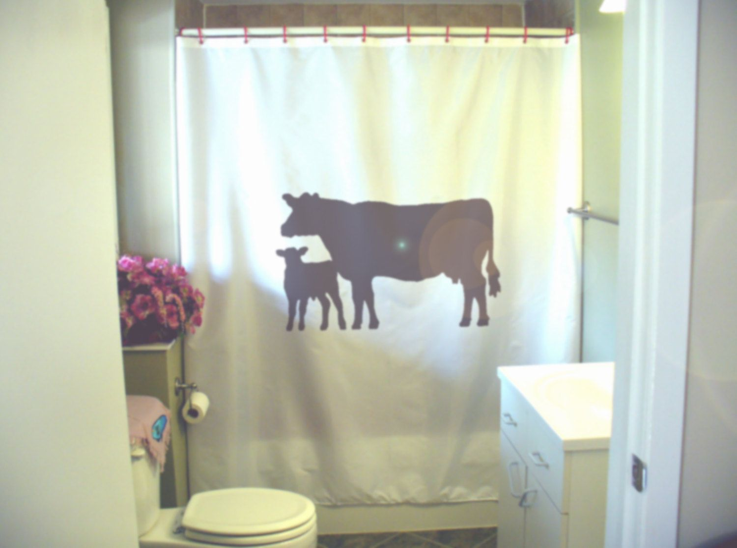 Brand New White Polyester Fabric Shower Curtain With The Design