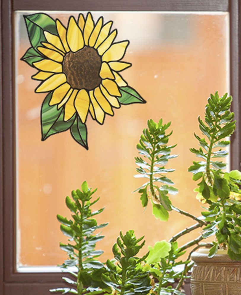 Sunflower Home Decor Clrwnd Sunflower D2 Stained Glass Style Vinyl Decal For