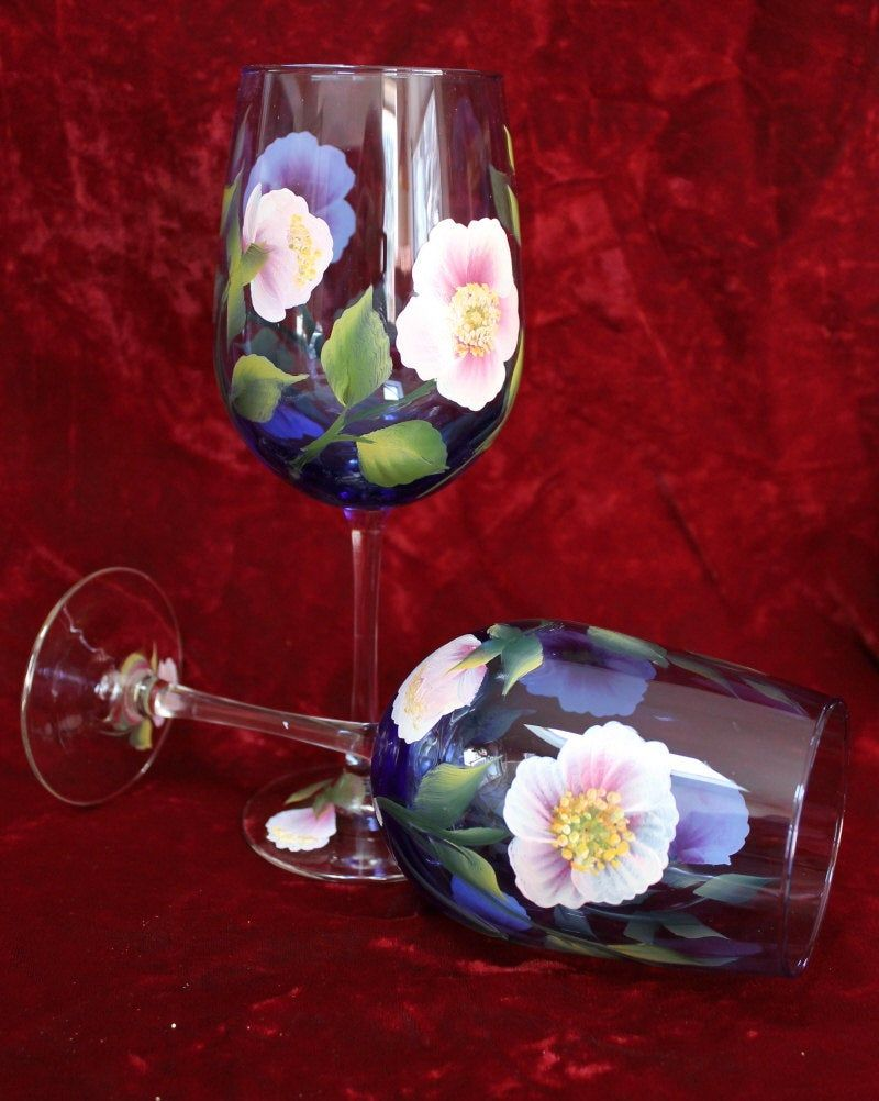 Hand Painted Wine Glasses Wild Rose On Cobalt Blue Glasses Etsy Hand Painted Wine Glasses Painted Wine Glasses Elegant Hand Painted Wine Glasses