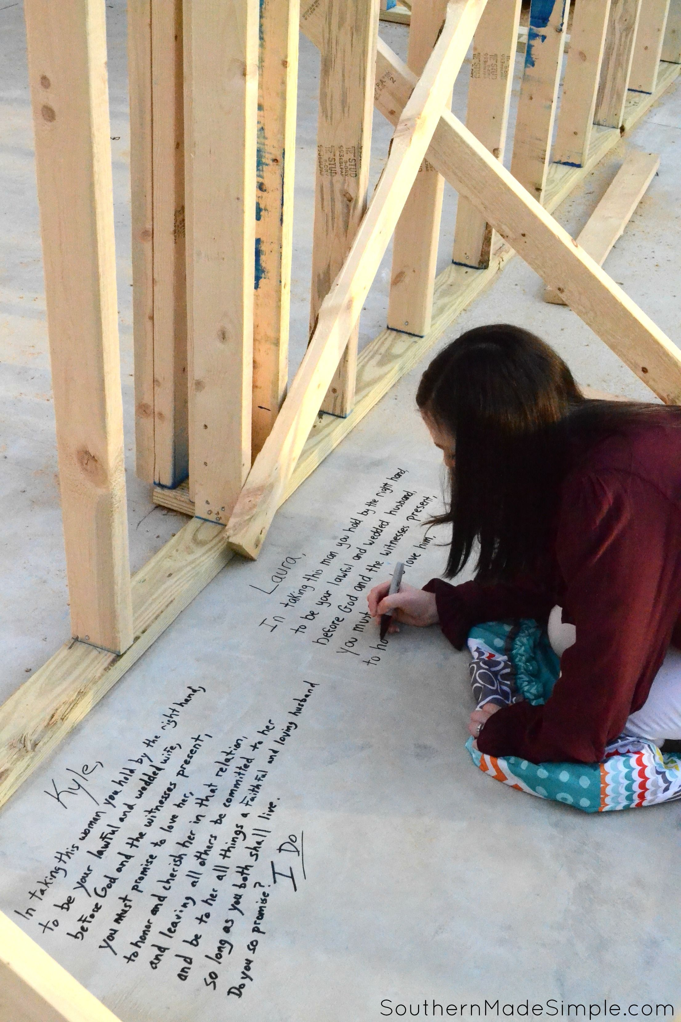 Love this idea! When building a new home write scriptures on the studs of your home that are relevant to each room of the house & When building a new home write scriptures on the studs of your home ...