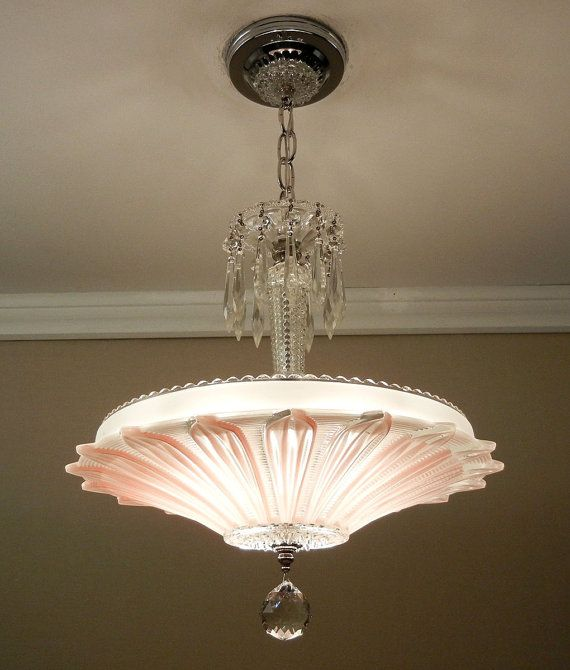 Vintage Art Deco SUNFLOWER Chandelier 1940's Chrome & Rose/Pink Petal Glass Ceiling Light Fixture Rewired