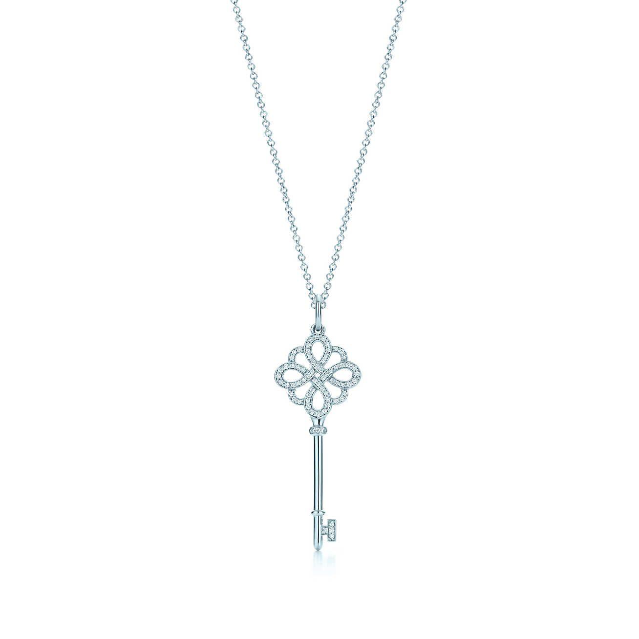 Tiffany Enchanter Pendentif Clé Coeur En Or Blanc 18 Carats Avec Diamants Tiffany & Co. iII00P7Oq