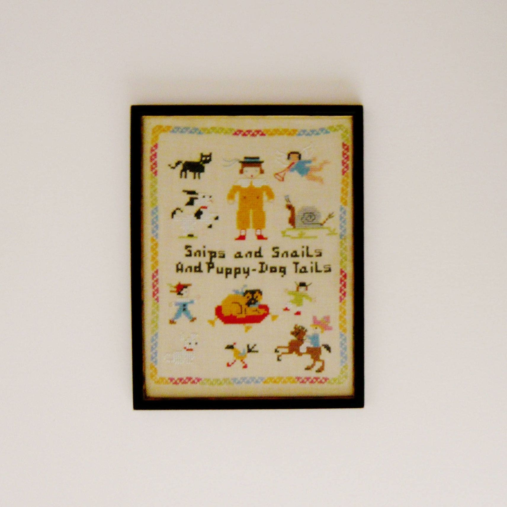 Vintage Children S Nursery Rhyme Snips And Snails Puppy Dog Tails Cross Sch Sampler Framed