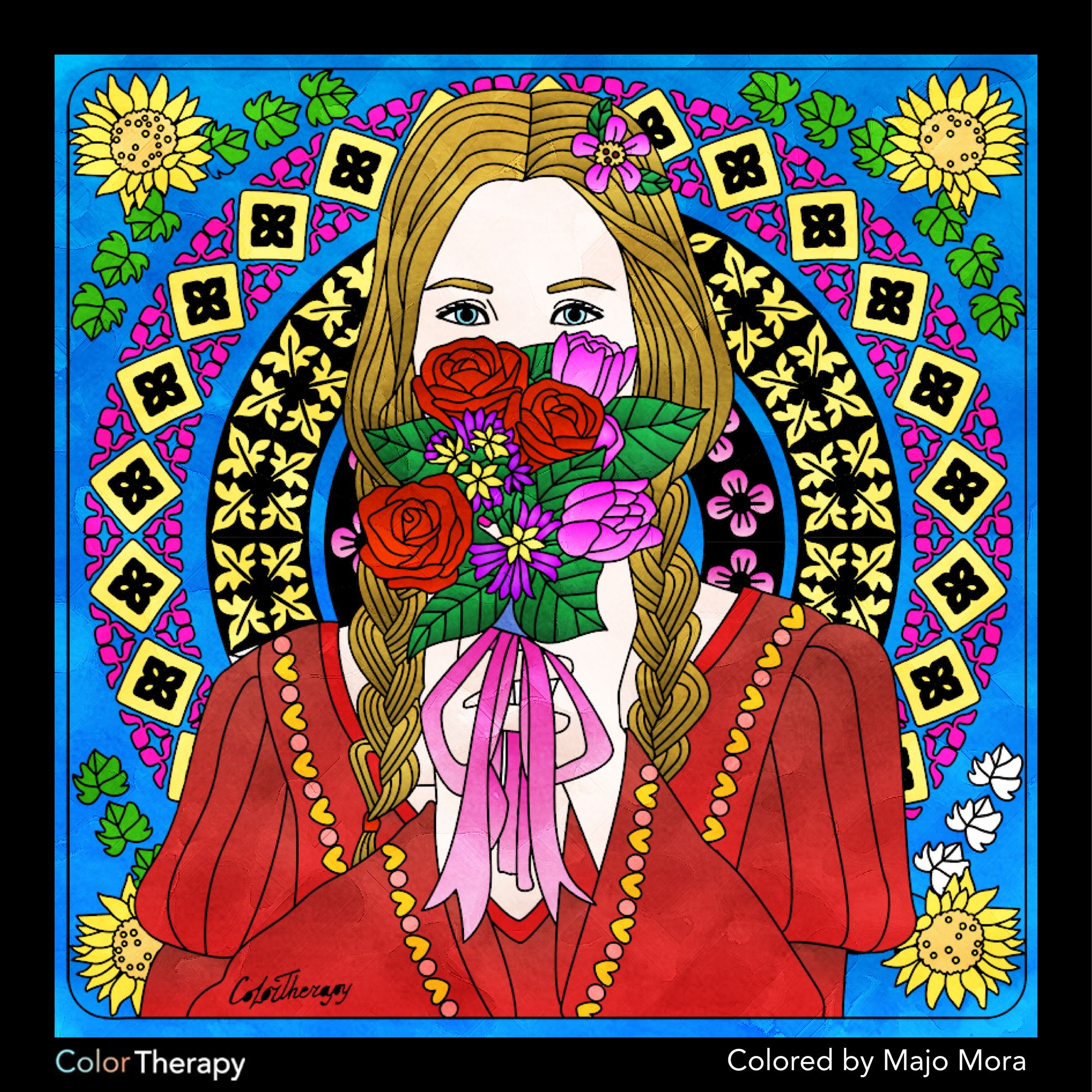 Color therapy anti stress coloring book app - I Colored This Myself Using Color Therapy App Coloreando Coloring