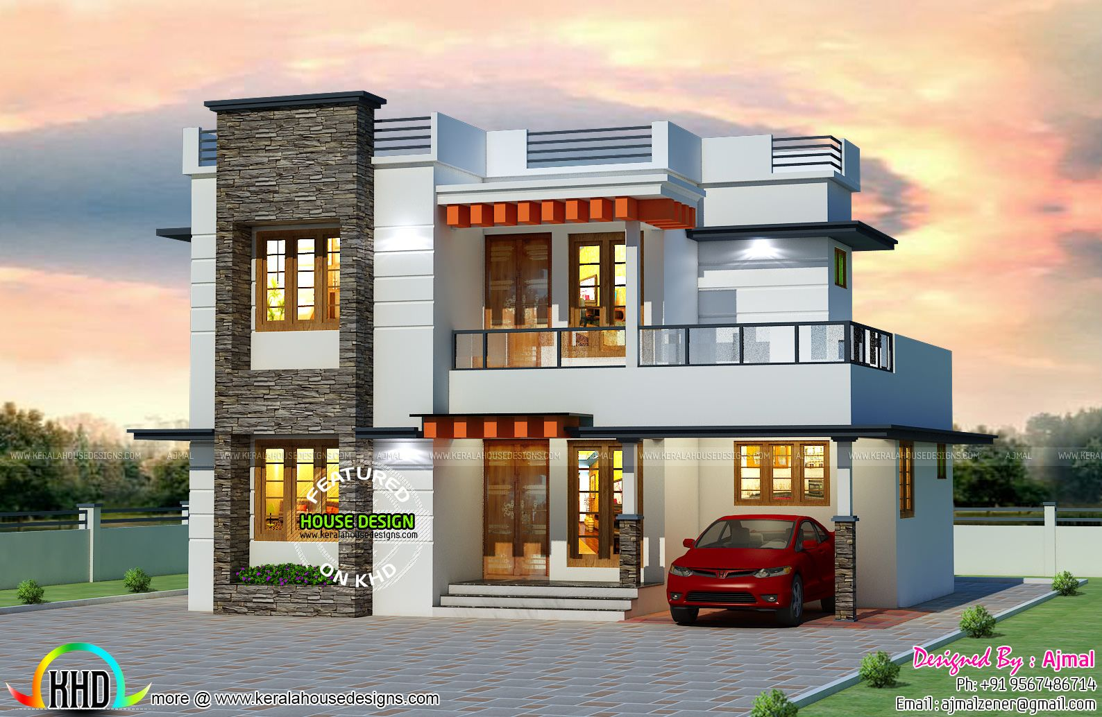 25 lakhs cost estimated Kerala home House Elevation Indian