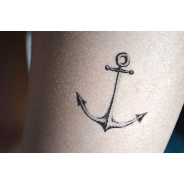 Anchor Set of 2, Black and White Hand Drawn Temporary Tattoo ($5.45) ❤ liked on Polyvore featuring accessories, body art and tattoo