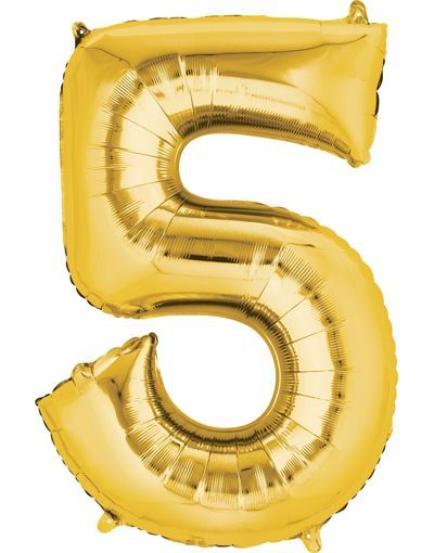 Giant Gold Number 5 Balloon 23in X 33in