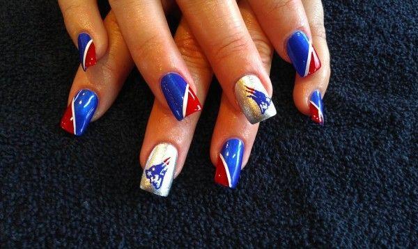 Nfl Game Day Nails 49ers Broncos Patriots Patriots Nails Patriots Patriotsnails New England Patri Patriotic Nails Design Patriots Nail Art Nfl Nails