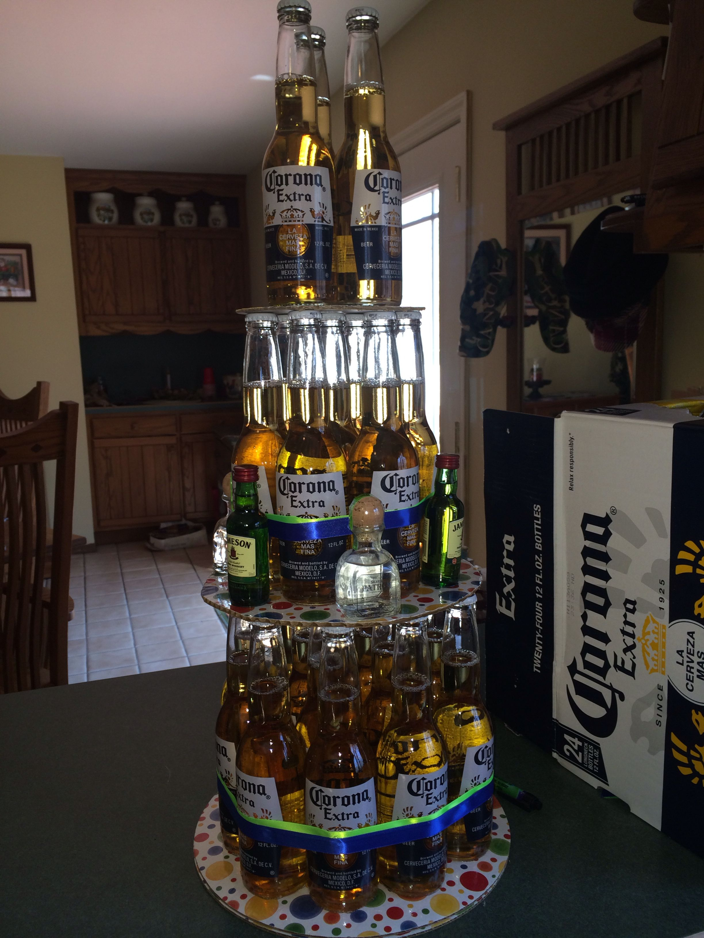 Diy Beer Bottle Cake 24 Bottled Beers 4 Airplane Shots 2