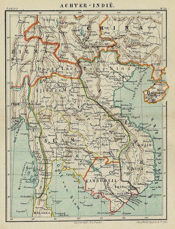 Title further india litho card with border and mountain coloring antique map of siamthailand 1842 gumiabroncs Choice Image