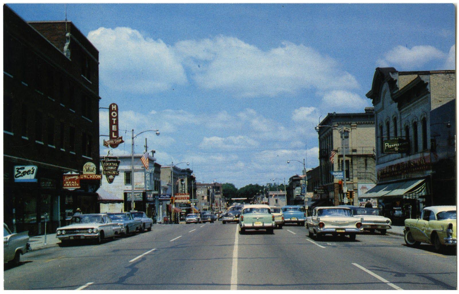 Vintage Main Street Fort Atkinson Wi Wisconsin Main Street Usa Postcard