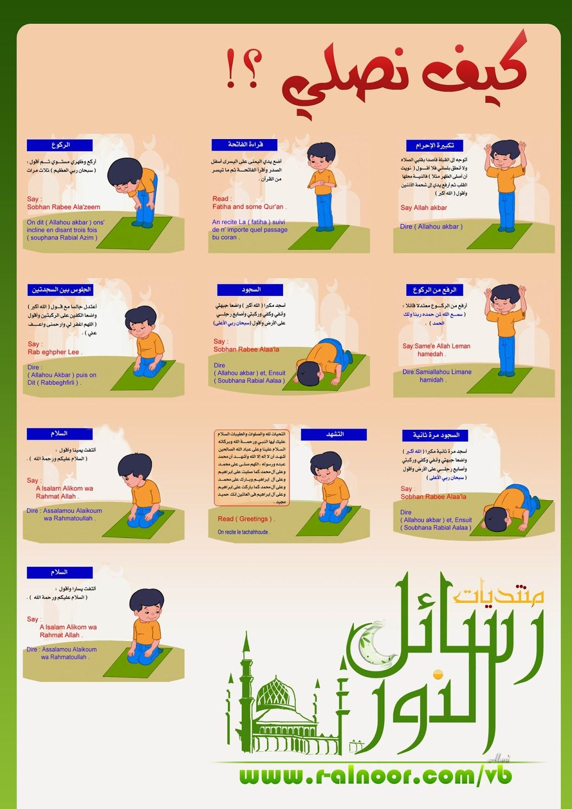 تعلم الصلاة للأطفال تعليم الصلاة Learning prayer for children Pictures and  Video Learning prayer for children Pictures and V..