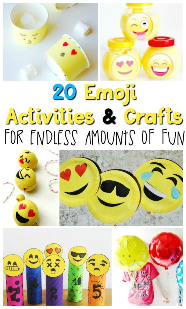 20 Emoji Activities And Crafts For Endless Amounts Of Fun Emoji Craft Arts And Crafts For Teens Emoji Birthday Party