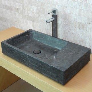 vasque en pierre rectangulaire eviane calcaire gris fonc 70x38 salle de bain pinterest. Black Bedroom Furniture Sets. Home Design Ideas