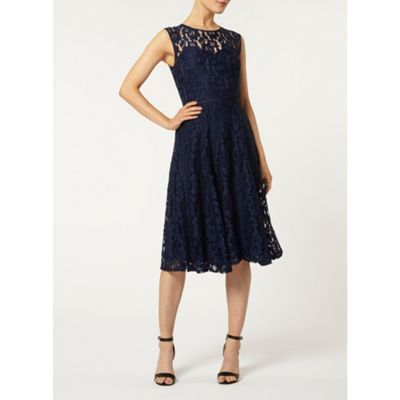Dorothy Perkins Navy lace midi dress- at Debenhams.com