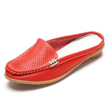 Socofy Grande Taille Couleur Pure Semelle Souple Talon Ouvert Occasionnel Paresseux Chaussures Plates mYjfcDo7