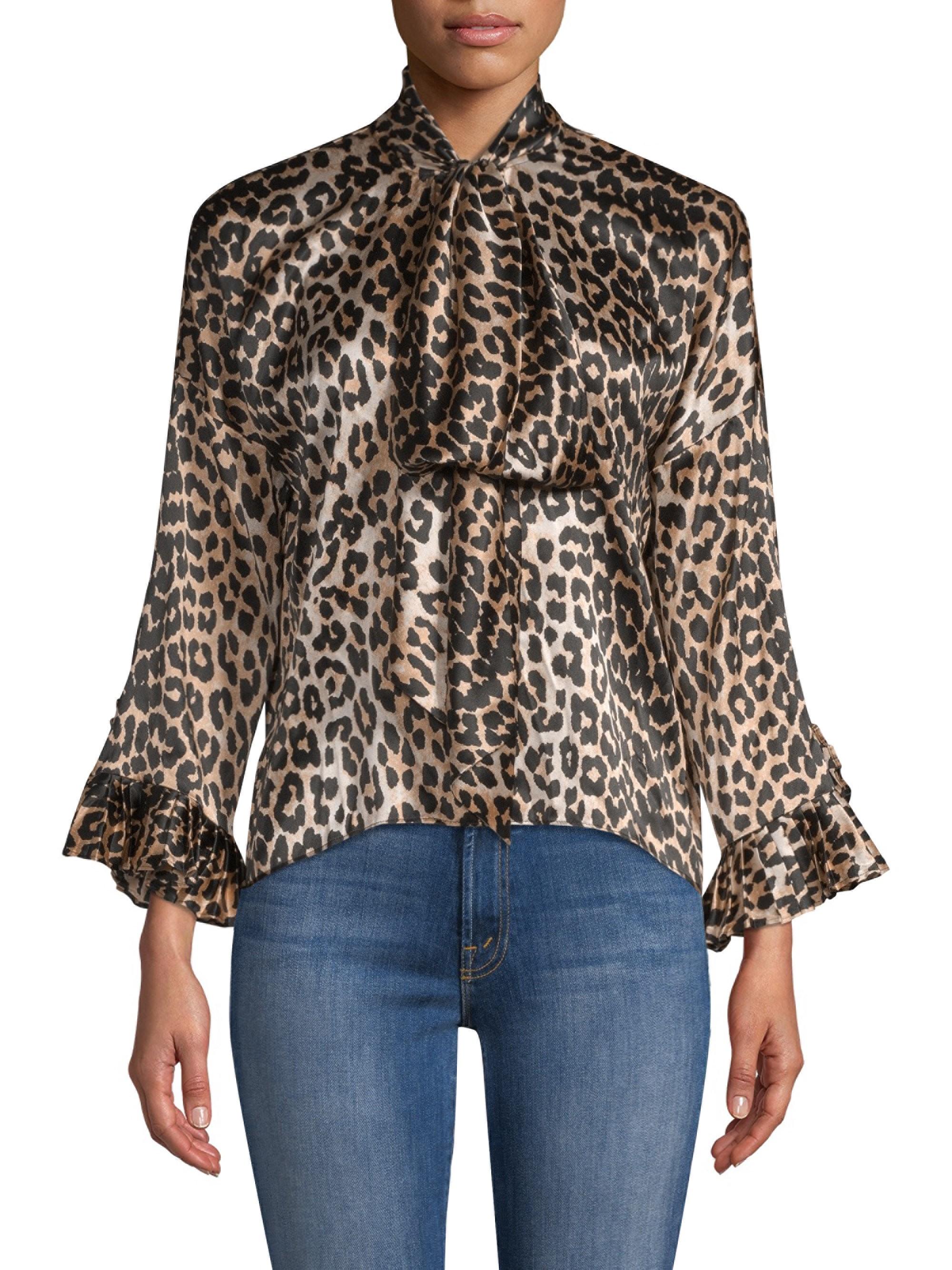 87de2b5028cc4b Ganni Calla Leopard Silk Blouse - 36 (4) in 2019 | Products | Blouse ...