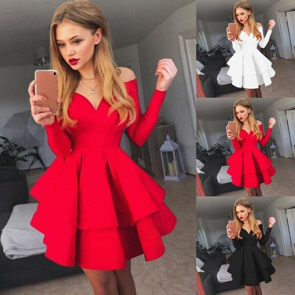 Delicate Red Long Sleeve Ruffled Homecoming Dress Off The Shoulder Short Dress Dresses For Teens Dance Prom Dresses Long With Sleeves Homecoming Dresses [ 1024 x 1024 Pixel ]