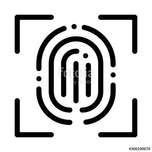 Scan Fingerprint Closeup Icon Vector Outline Scan Fingerprint Closeup Sign Isolated Contour Symbol Illustration