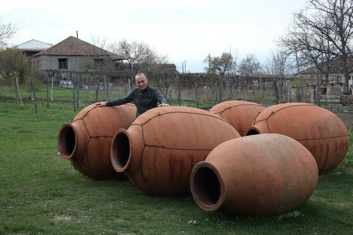 Winemaker Iago Bitarishvili makes wine in clay vessels called qvevri, which he buries underground and fills with white grapes. There are no barrels, vats or monitoring systems for this ancient Georgian method, which is helping drive sales. Bitarishvili plans to bury these new qvevri in his cellar to expand production.