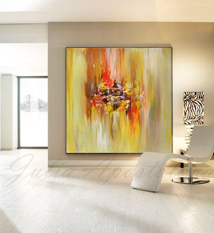 Large Wall Art Abstract Painting Orange Gold Wall Canvas Original